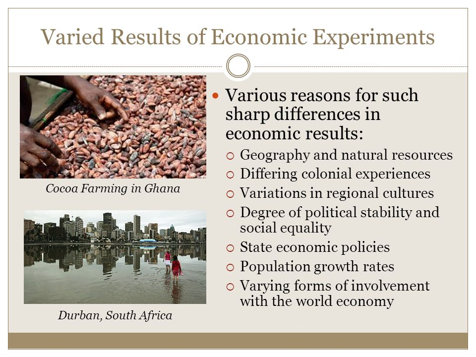 Varied Results of Economic Experiments Various reasons for such sharp differences in economic results:  Geography and natural resources  Differing colonial experiences  Variations in regional cultures  Degree of political stability and social equality  State economic policies  Population growth rates  Varying forms of involvement with the world economy Durban, South Africa Cocoa Farming in Ghana