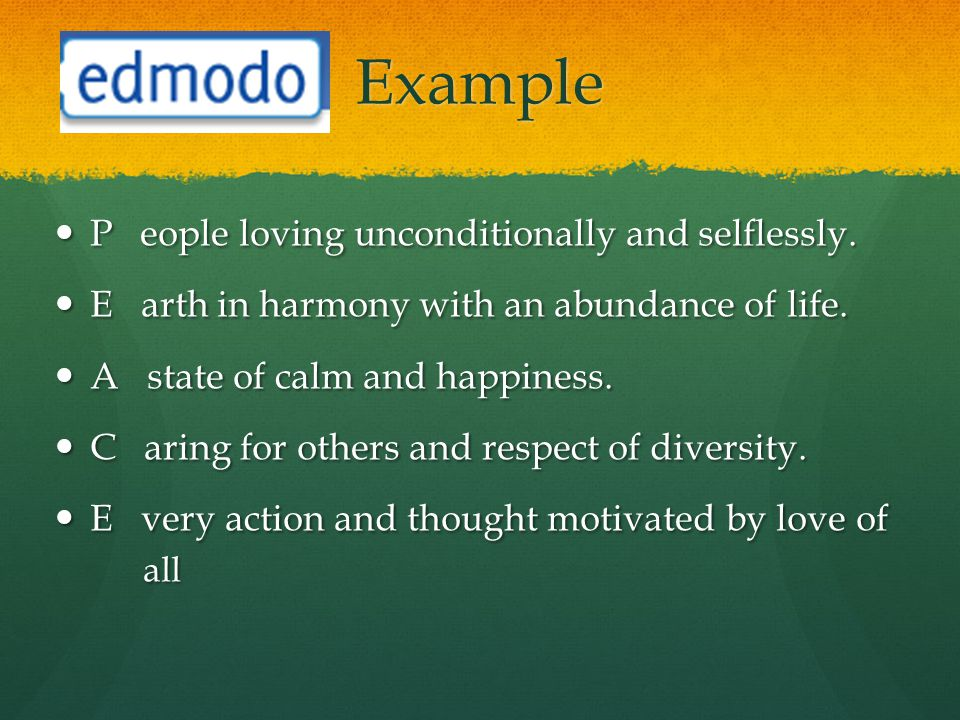 Example P eople loving unconditionally and selflessly.