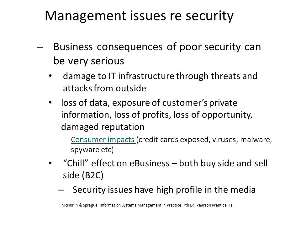 Management issues re security – Business consequences of poor security can be very serious damage to IT infrastructure through threats and attacks fro