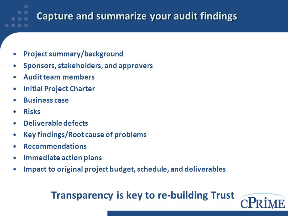 Capture and summarize your audit findings Project summary/background Sponsors, stakeholders, and approvers Audit team members Initial Project Charter