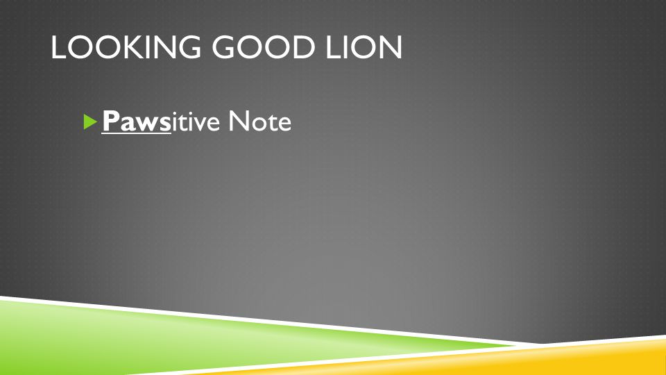 LOOKING GOOD LION  Pawsitive Note