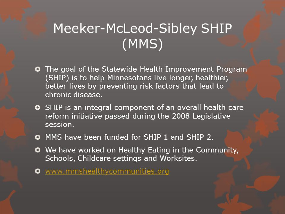 Meeker-McLeod-Sibley SHIP (MMS)  The goal of the Statewide Health Improvement Program (SHIP) is to help Minnesotans live longer, healthier, better lives by preventing risk factors that lead to chronic disease.