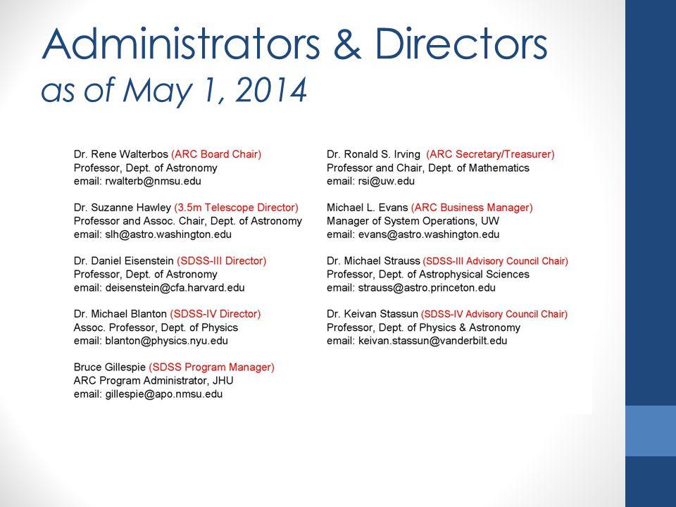 Administrators & Directors as of May 1, 2014