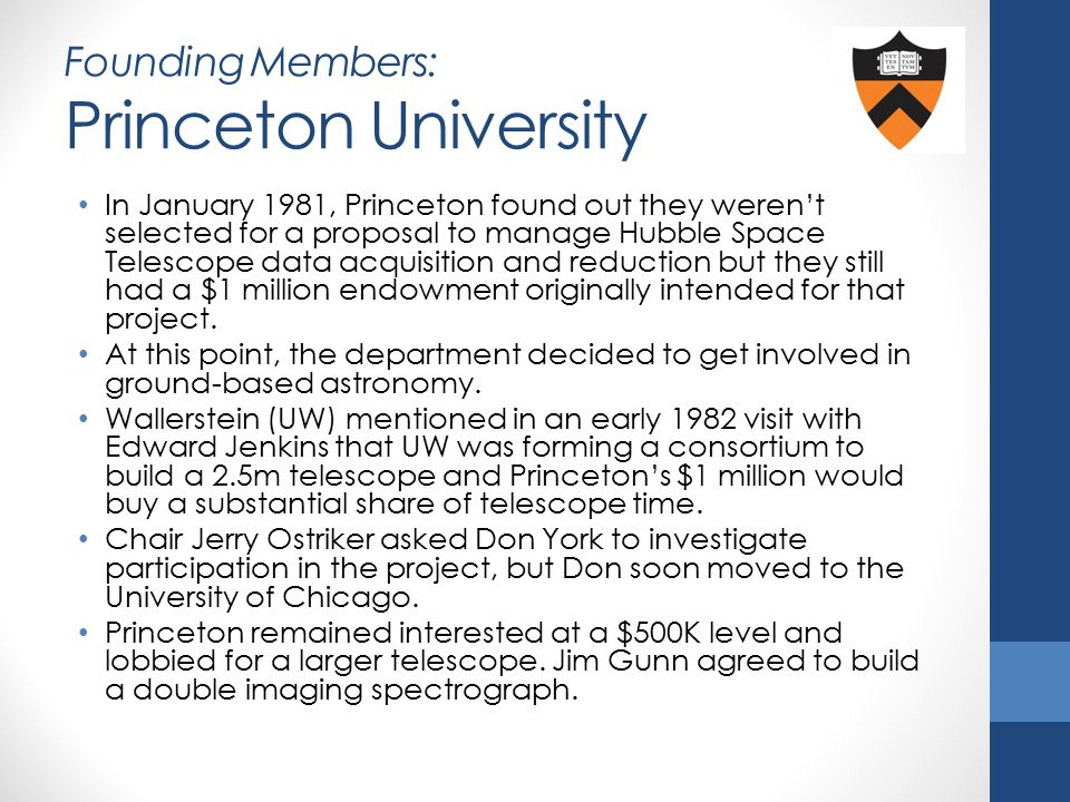 Founding Members: Princeton University In January 1981, Princeton found out they weren't selected for a proposal to manage Hubble Space Telescope data