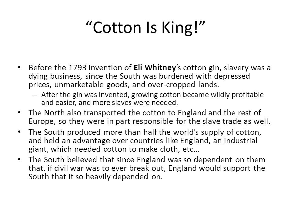 """""""Cotton Is King!"""" Before the 1793 invention of Eli Whitney's cotton gin, slavery was a dying business, since the South was burdened with depressed pri"""