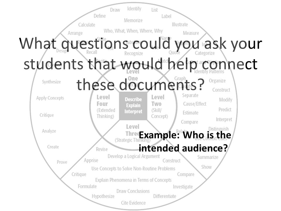 What questions could you ask your students that would help connect these documents.