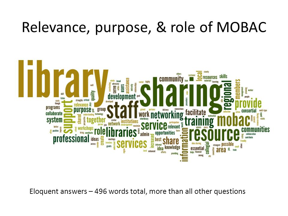 Relevance, purpose, & role of MOBAC Eloquent answers – 496 words total, more than all other questions