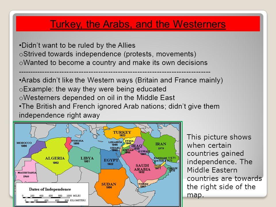 Turkey, the Arabs, and the Westerners Didn't want to be ruled by the Allies o Strived towards independence (protests, movements) o Wanted to become a