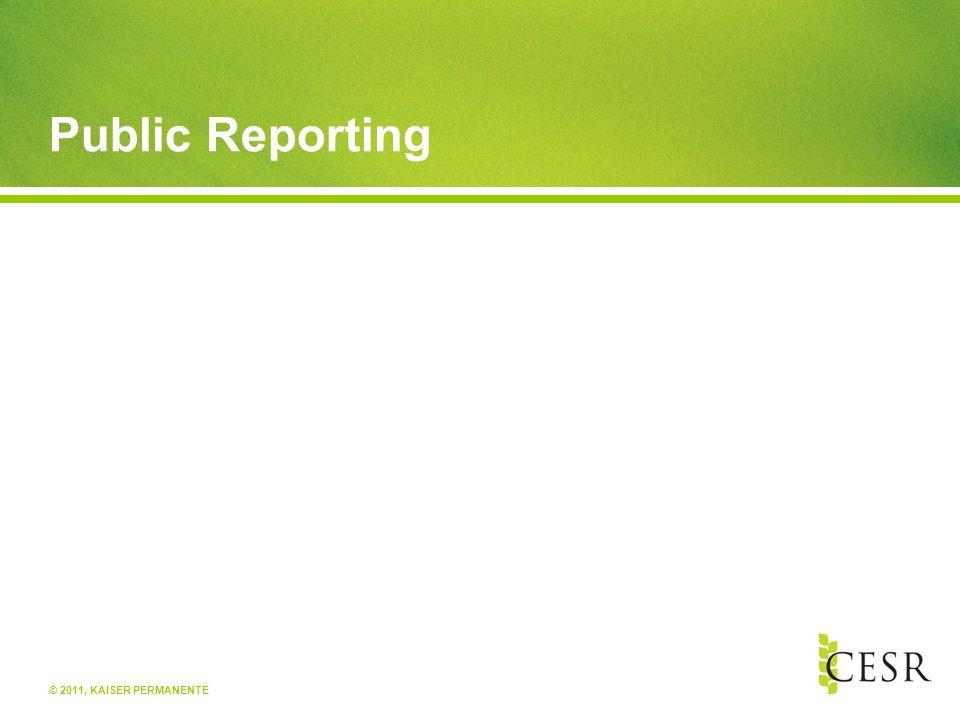© 2011, KAISER PERMANENTE Public Reporting