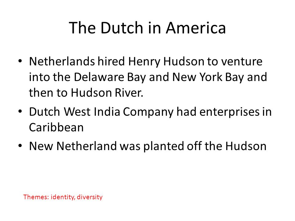The Dutch in America Netherlands hired Henry Hudson to venture into the Delaware Bay and New York Bay and then to Hudson River.