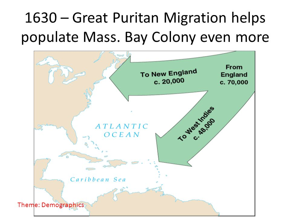 1630 – Great Puritan Migration helps populate Mass. Bay Colony even more Theme: Demographics