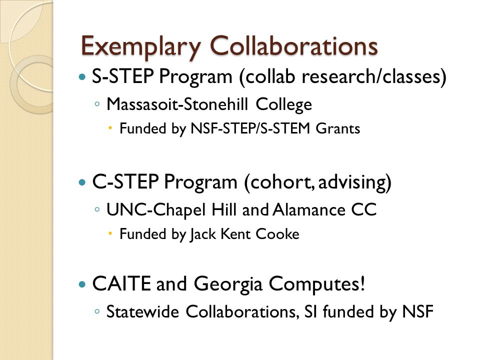 Exemplary Collaborations S-STEP Program (collab research/classes) ◦ Massasoit-Stonehill College  Funded by NSF-STEP/S-STEM Grants C-STEP Program (cohort, advising) ◦ UNC-Chapel Hill and Alamance CC  Funded by Jack Kent Cooke CAITE and Georgia Computes.