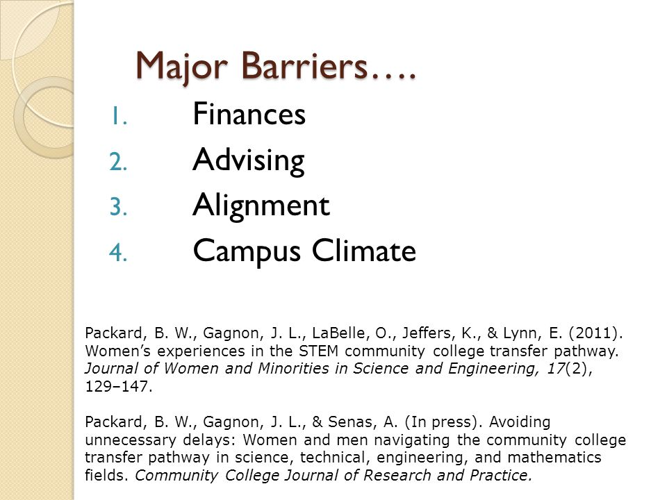 Major Barriers…. 1. Finances 2. Advising 3. Alignment 4.