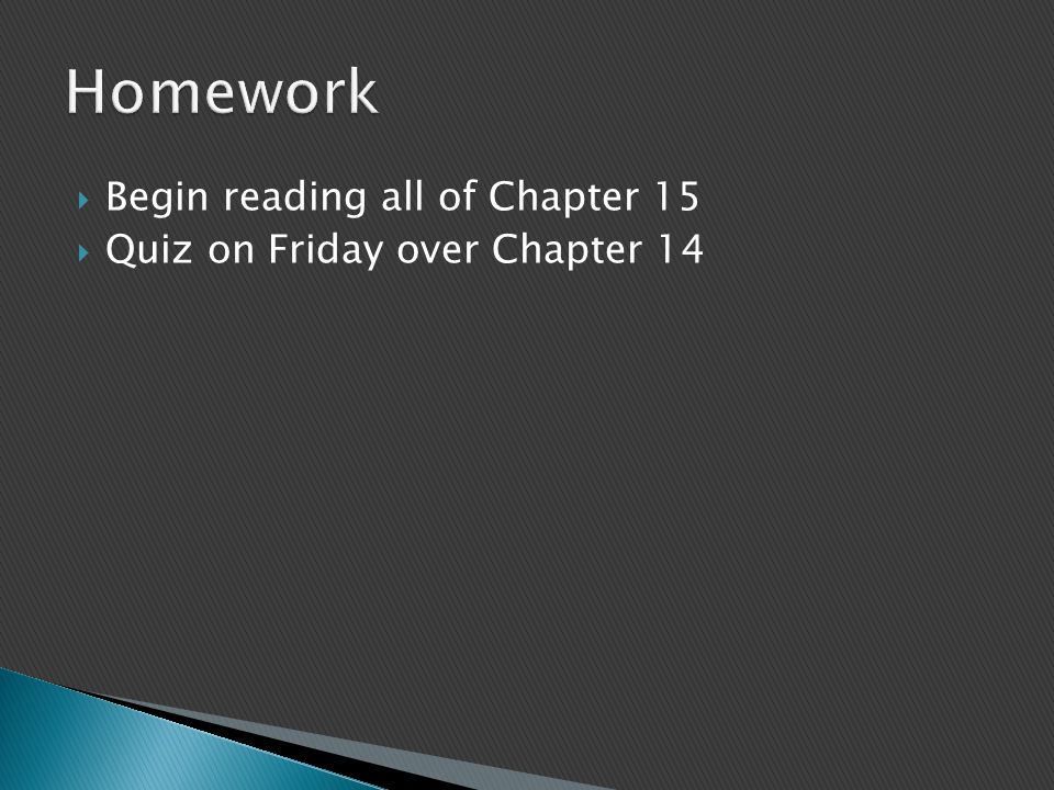 Begin reading all of Chapter 15  Quiz on Friday over Chapter 14