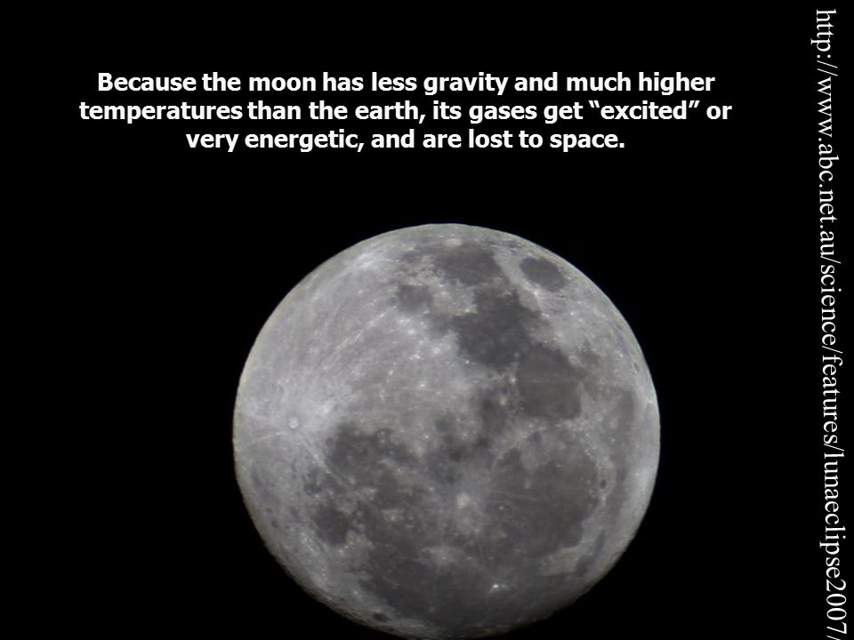 Because the moon has less gravity and much higher temperatures than the earth, its gases get excited or very energetic, and are lost to space.