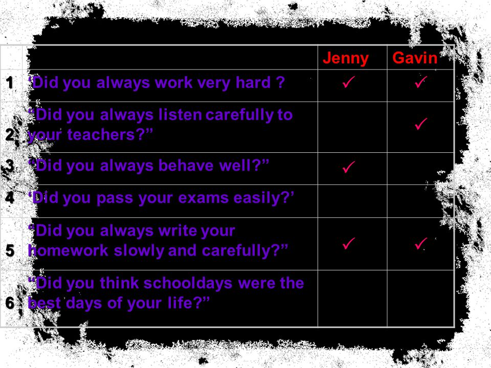 JennyGavin 1 'Did you always work very hard .