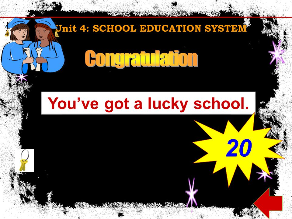 Unit 4: SCHOOL EDUCATION SYSTEM You've got a lucky school. 20