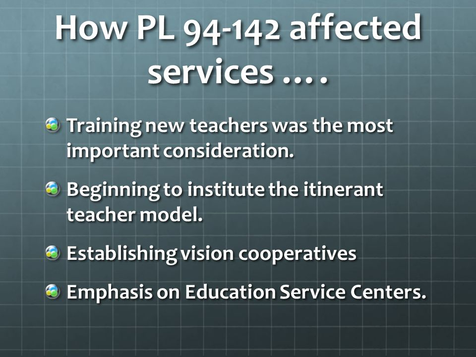How PL 94-142 affected services …. Training new teachers was the most important consideration.