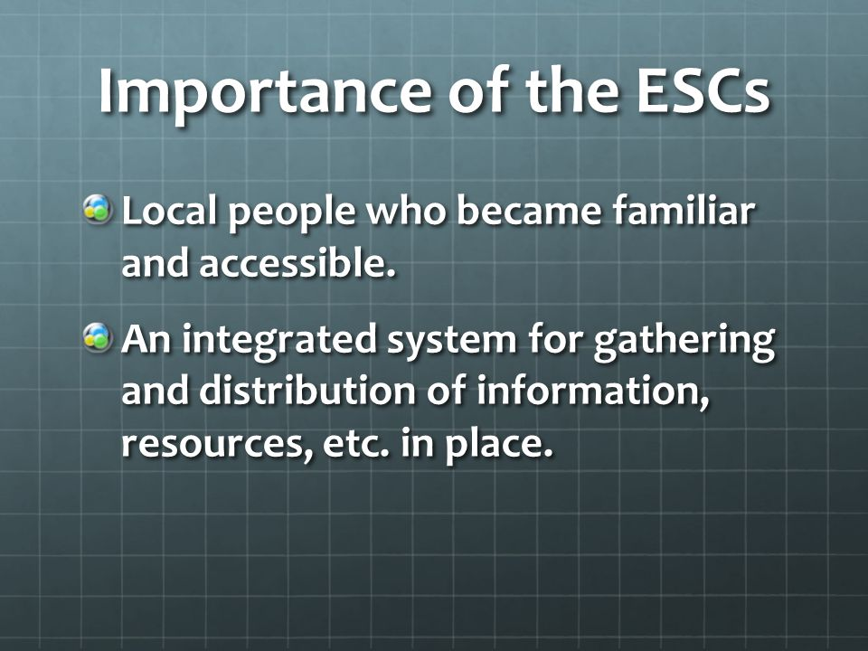 Importance of the ESCs Local people who became familiar and accessible.