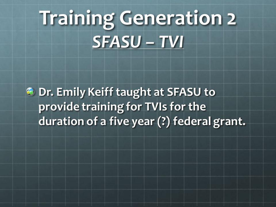 Training Generation 2 SFASU – TVI Dr.