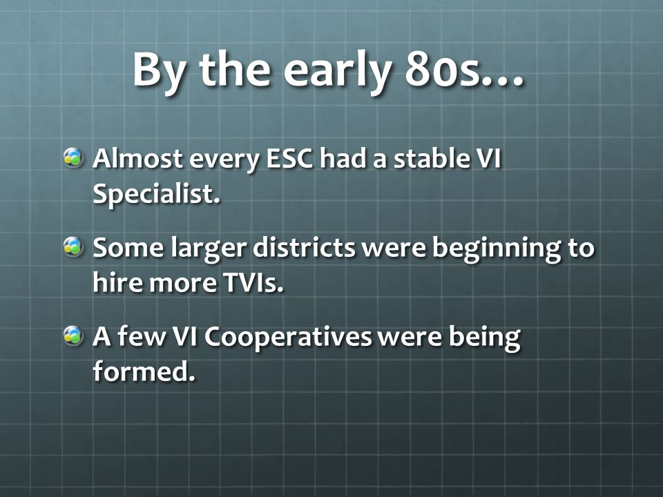 By the early 80s… Almost every ESC had a stable VI Specialist.