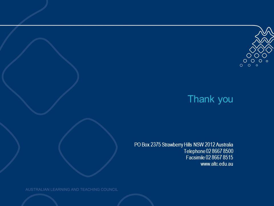Thank you PO Box 2375 Strawberry Hills NSW 2012 Australia Telephone 02 8667 8500 Facsimile 02 8667 8515 www.altc.edu.au