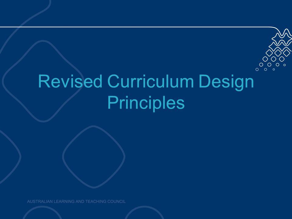 Revised Curriculum Design Principles