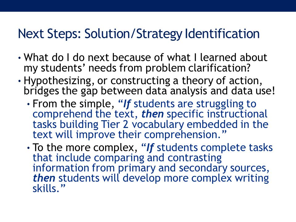 Next Steps: Solution/Strategy Identification What do I do next because of what I learned about my students' needs from problem clarification.