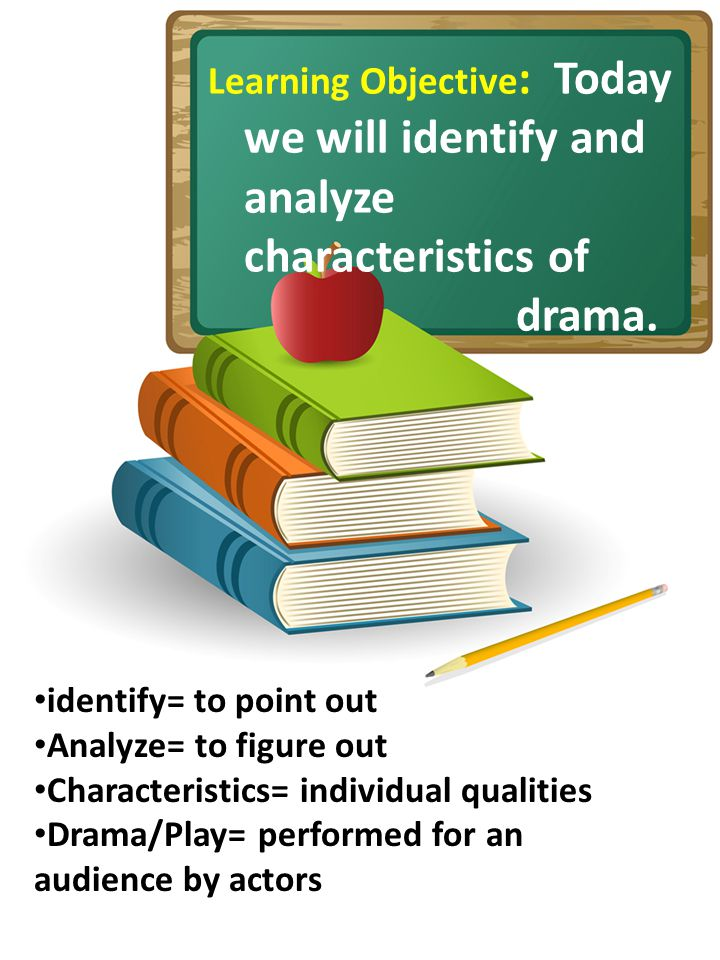 Learning Objective : Today we will identify and analyze characteristics of drama. identify= to point out Analyze= to figure out Characteristics= indiv