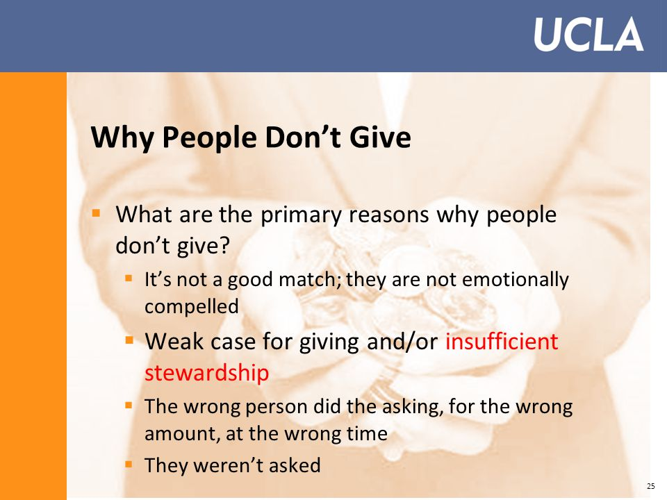 Why People Don't Give  What are the primary reasons why people don't give.