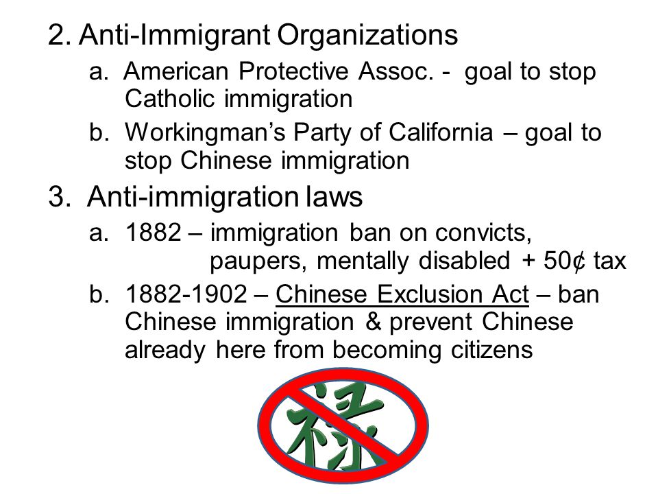 2. Anti-Immigrant Organizations a. American Protective Assoc. - goal to stop Catholic immigration b. Workingman's Party of California – goal to stop C