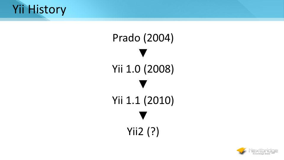 Yii History Prado (2004) ▼ Yii 1.0 (2008) ▼ Yii 1.1 (2010) ▼ Yii2 ( )