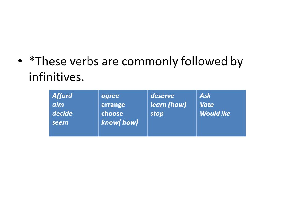 *These verbs are commonly followed by infinitives. Afford aim decide seem agree arrange choose know( how) deserve learn (how) stop Ask Vote Would ike