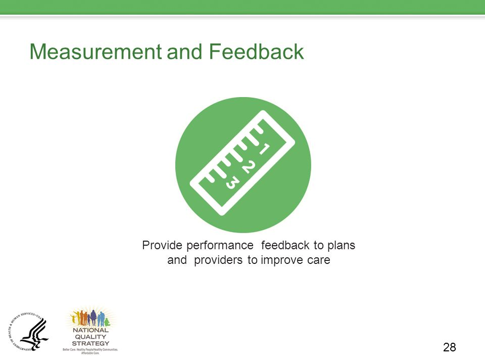 Measurement and Feedback 28 Provide performance feedback to plans and providers to improve care