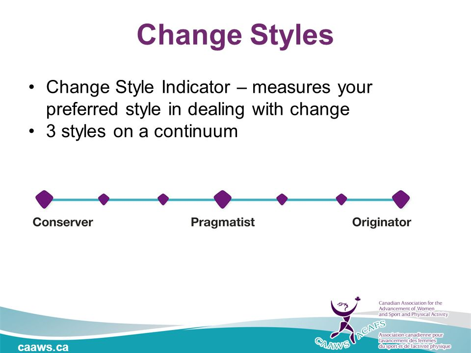 caaws.ca Change Styles Change Style Indicator – measures your preferred style in dealing with change 3 styles on a continuum