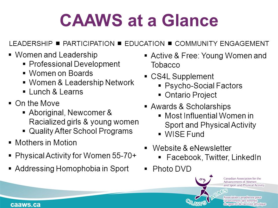 caaws.ca CAAWS at a Glance  Women and Leadership  Professional Development  Women on Boards  Women & Leadership Network  Lunch & Learns  On the Move  Aboriginal, Newcomer & Racialized girls & young women  Quality After School Programs  Mothers in Motion  Physical Activity for Women 55-70+  Addressing Homophobia in Sport  Active & Free: Young Women and Tobacco  CS4L Supplement  Psycho-Social Factors  Ontario Project  Awards & Scholarships  Most Influential Women in Sport and Physical Activity  WISE Fund  Website & eNewsletter  Facebook, Twitter, LinkedIn  Photo DVD LEADERSHIP  PARTICIPATION  EDUCATION  COMMUNITY ENGAGEMENT