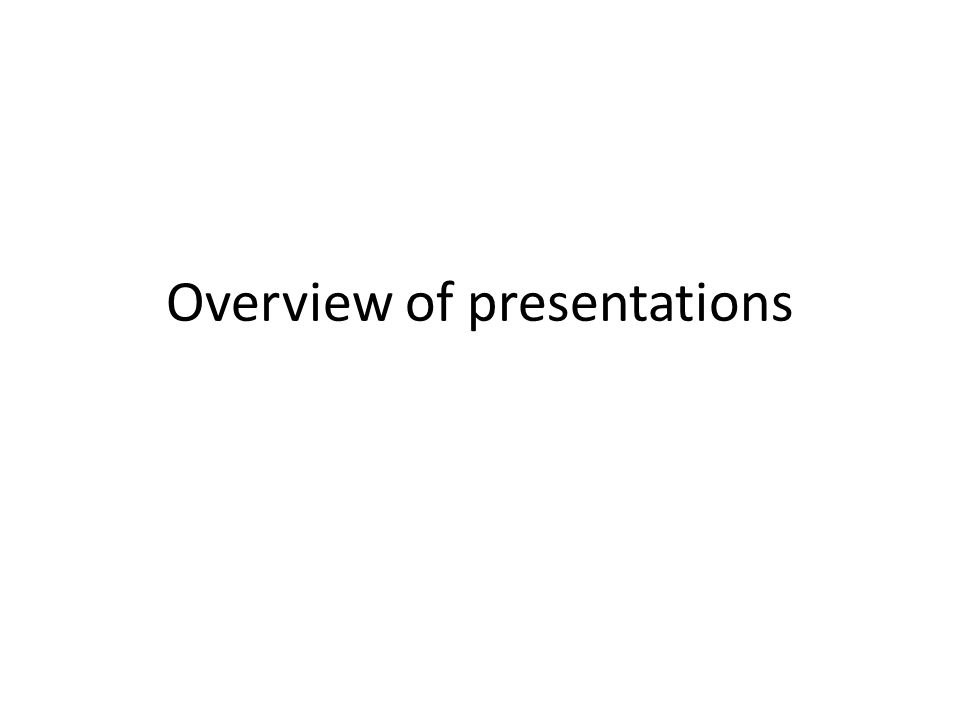 Overview of presentations
