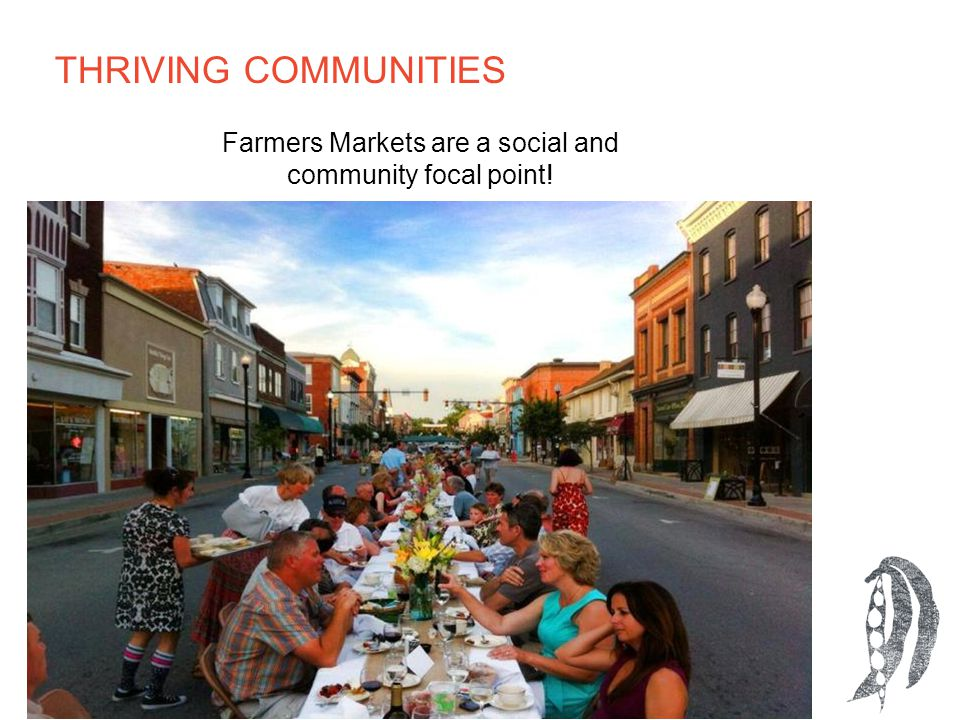 Farmers Markets are a social and community focal point! THRIVING COMMUNITIES