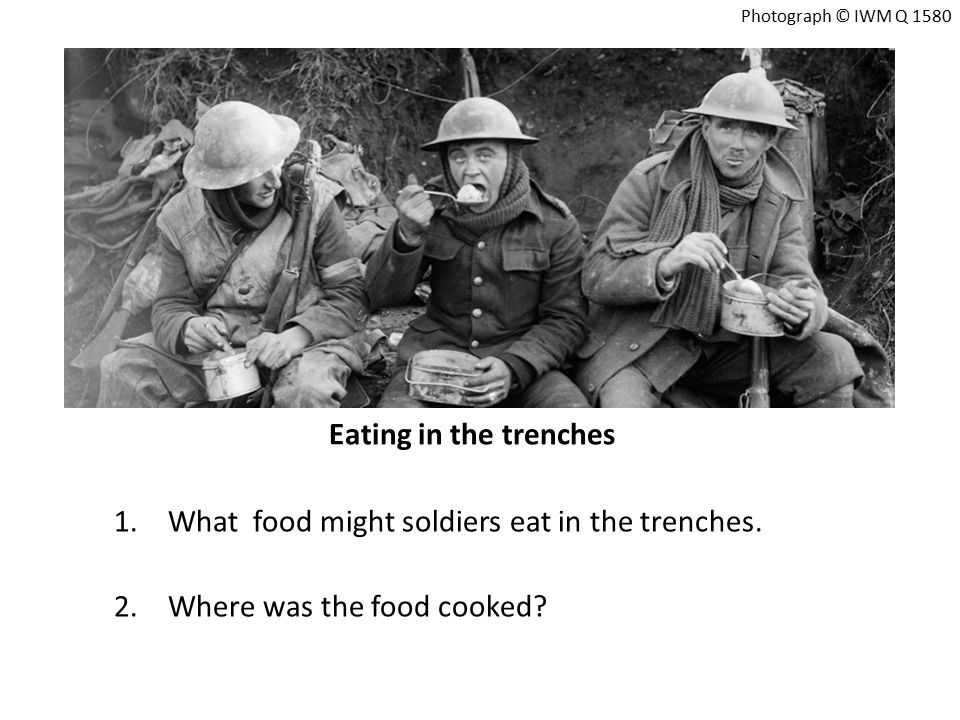 A dog bringing food to soldiers in WW1 1.Why did dogs bring the food to the soldiers.