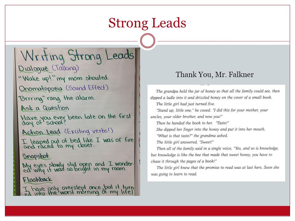 Strong Leads Thank You, Mr. Falkner
