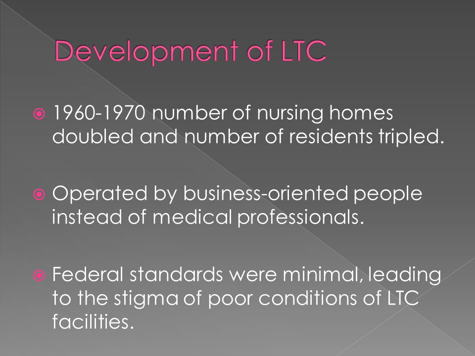  1960-1970 number of nursing homes doubled and number of residents tripled.
