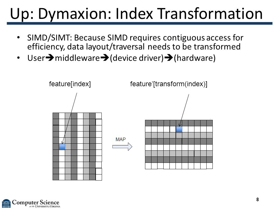 Up: Dymaxion: Index Transformation SIMD/SIMT: Because SIMD requires contiguous access for efficiency, data layout/traversal needs to be transformed User  middleware  (device driver)  (hardware) feature[index] feature'[transform(index)] 8