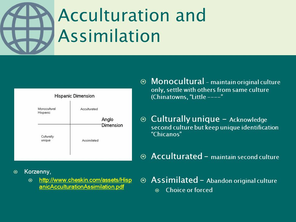 "Acculturation and Assimilation ⊛Monocultural – maintain original culture only, settle with others from same culture (Chinatowns, ""Little ----"" ⊛Cultur"
