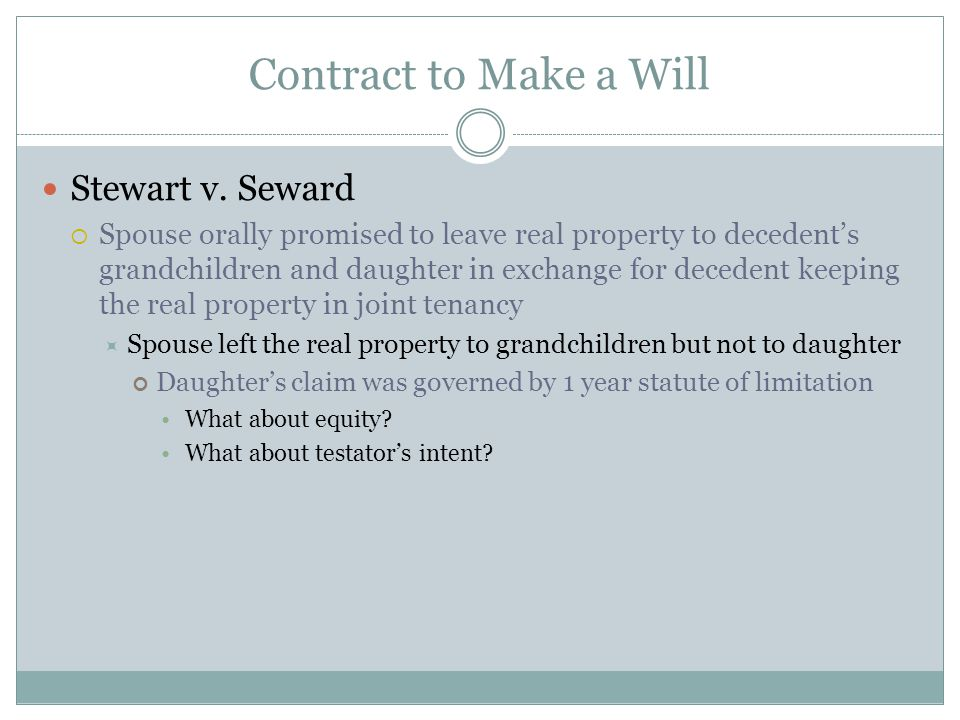 Contract to Make a Will Stewart v.