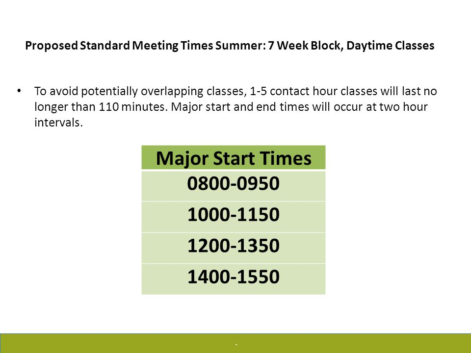 .. Proposed Standard Meeting Times Summer: 7 Week Block, Daytime Classes To avoid potentially overlapping classes, 1-5 contact hour classes will last