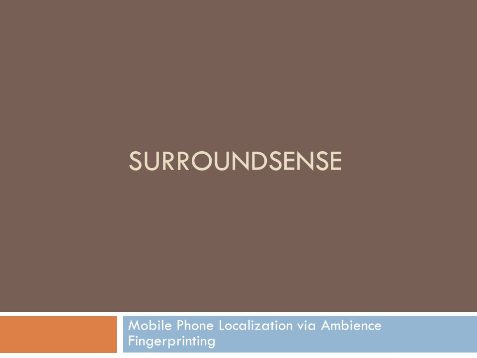 SURROUNDSENSE Mobile Phone Localization via Ambience Fingerprinting