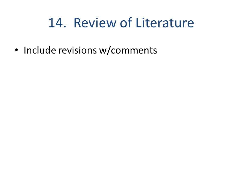 14. Review of Literature Include revisions w/comments