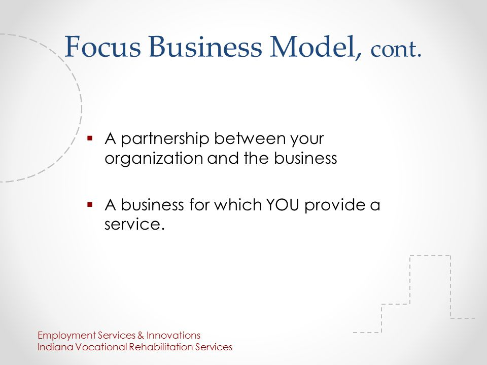 Focus Business Model, cont.