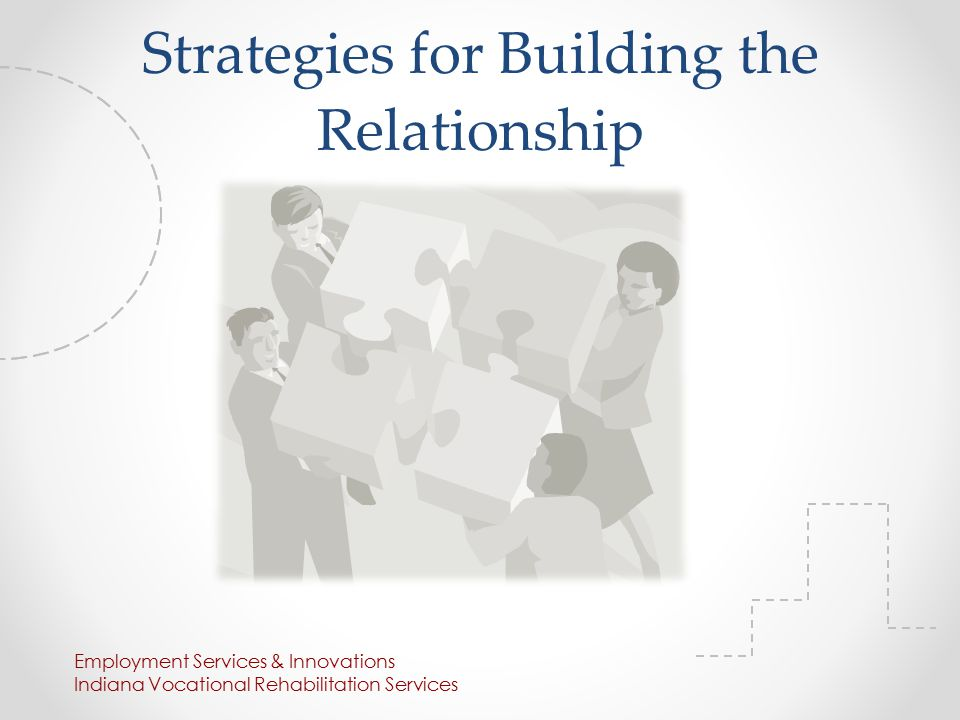 Strategies for Building the Relationship Employment Services & Innovations Indiana Vocational Rehabilitation Services