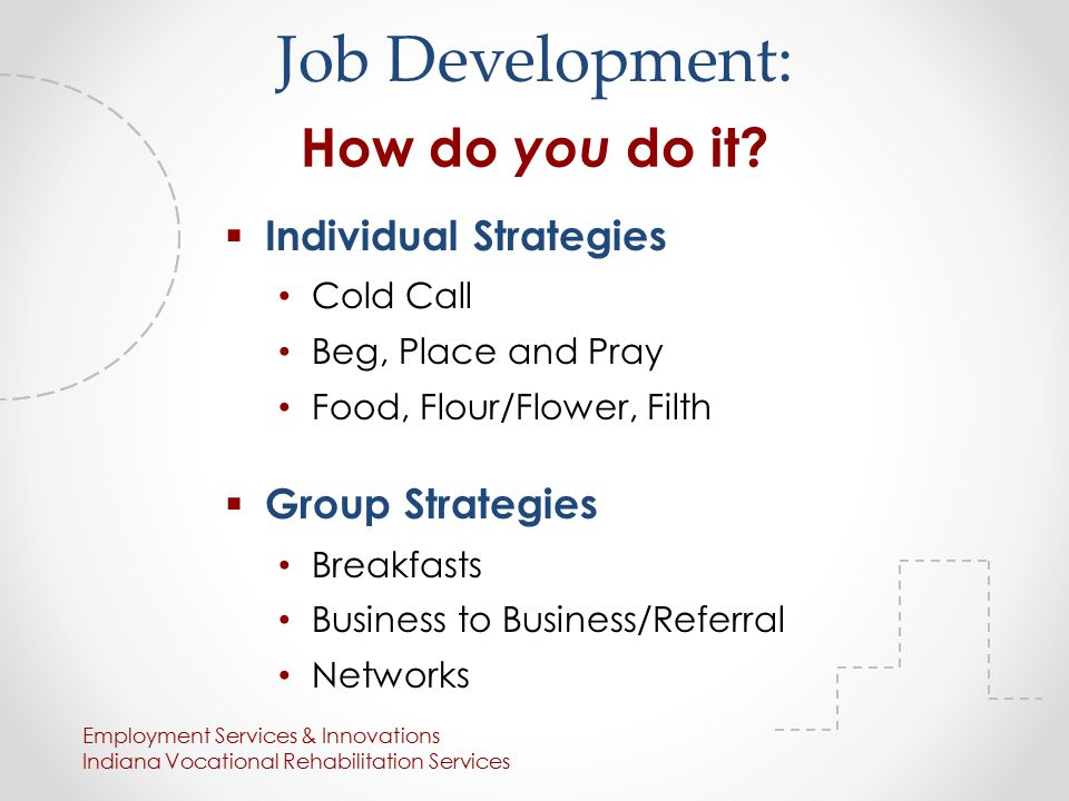  Individual Strategies Cold Call Beg, Place and Pray Food, Flour/Flower, Filth  Group Strategies Breakfasts Business to Business/Referral Networks Employment Services & Innovations Indiana Vocational Rehabilitation Services Job Development: How do you do it